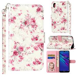 Rambler Rose Flower 3D Leather Phone Holster Wallet Case for Huawei Y5 (2019)