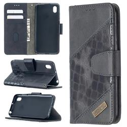 BinfenColor BF04 Color Block Stitching Crocodile Leather Case Cover for Huawei Y5 (2019) - Black