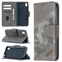 BinfenColor BF04 Color Block Stitching Crocodile Leather Case Cover for Huawei Y5 (2019) - Gray