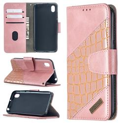 BinfenColor BF04 Color Block Stitching Crocodile Leather Case Cover for Huawei Y5 (2019) - Rose Gold
