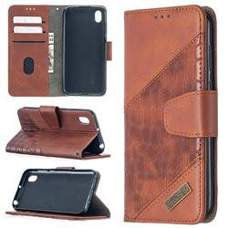 BinfenColor BF04 Color Block Stitching Crocodile Leather Case Cover for Huawei Y5 (2019) - Brown