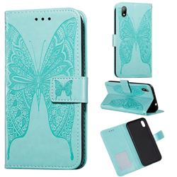 Intricate Embossing Vivid Butterfly Leather Wallet Case for Huawei Y5 (2019) - Green