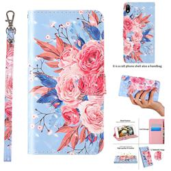 Rose Flower 3D Painted Leather Wallet Case for Huawei Y5 (2019)