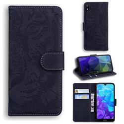 Intricate Embossing Tiger Face Leather Wallet Case for Huawei Y5 (2019) - Black