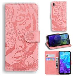 Intricate Embossing Tiger Face Leather Wallet Case for Huawei Y5 (2019) - Pink