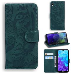 Intricate Embossing Tiger Face Leather Wallet Case for Huawei Y5 (2019) - Green