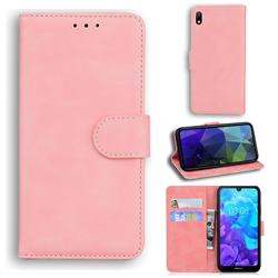 Retro Classic Skin Feel Leather Wallet Phone Case for Huawei Y5 (2019) - Pink