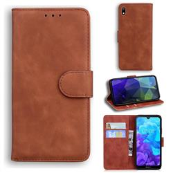 Retro Classic Skin Feel Leather Wallet Phone Case for Huawei Y5 (2019) - Brown