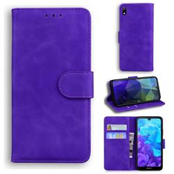 Retro Classic Skin Feel Leather Wallet Phone Case for Huawei Y5 (2019) - Purple
