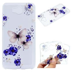 Blue Butterfly Flowers Super Clear Soft TPU Back Cover for Huawei Y5 (2017)