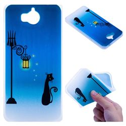 Street Light Cat 3D Relief Matte Soft TPU Back Cover for Huawei Y5 (2017)