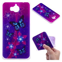 Butterfly Flowers 3D Relief Matte Soft TPU Back Cover for Huawei Y5 (2017)