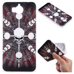 Compass Skulls 3D Relief Matte Soft TPU Back Cover for Huawei Y5 (2017)