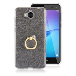 Luxury Soft TPU Glitter Back Ring Cover with 360 Rotate Finger Holder Buckle for Huawei Y5 (2017) - Black