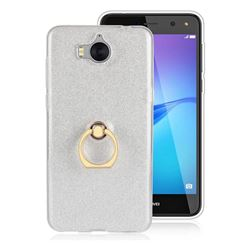Luxury Soft TPU Glitter Back Ring Cover with 360 Rotate Finger Holder Buckle for Huawei Y5 (2017) - White