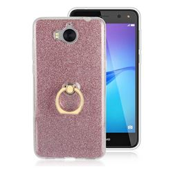 Luxury Soft TPU Glitter Back Ring Cover with 360 Rotate Finger Holder Buckle for Huawei Y5 (2017) - Pink