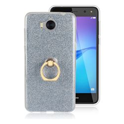 Luxury Soft TPU Glitter Back Ring Cover with 360 Rotate Finger Holder Buckle for Huawei Y5 (2017) - Blue