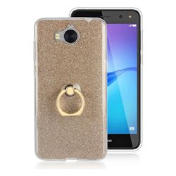 Luxury Soft TPU Glitter Back Ring Cover with 360 Rotate Finger Holder Buckle for Huawei Y5 (2017) - Golden