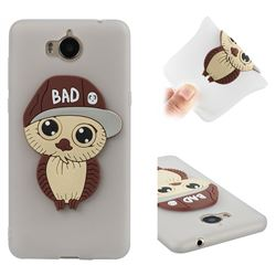 Bad Boy Owl Soft 3D Silicone Case for Huawei Y5 (2017) - Translucent White