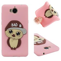 Bad Boy Owl Soft 3D Silicone Case for Huawei Y5 (2017) - Pink