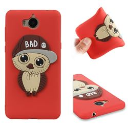 Bad Boy Owl Soft 3D Silicone Case for Huawei Y5 (2017) - Red