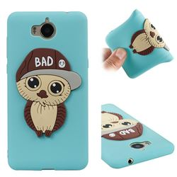 Bad Boy Owl Soft 3D Silicone Case for Huawei Y5 (2017) - Sky Blue