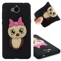 Bowknot Girl Owl Soft 3D Silicone Case for Huawei Y5 (2017) - Black