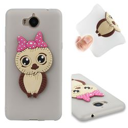 Bowknot Girl Owl Soft 3D Silicone Case for Huawei Y5 (2017) - Translucent White