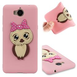 Bowknot Girl Owl Soft 3D Silicone Case for Huawei Y5 (2017) - Pink
