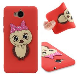 Bowknot Girl Owl Soft 3D Silicone Case for Huawei Y5 (2017) - Red