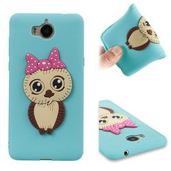 Bowknot Girl Owl Soft 3D Silicone Case for Huawei Y5 (2017) - Sky Blue