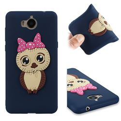 Bowknot Girl Owl Soft 3D Silicone Case for Huawei Y5 (2017) - Navy