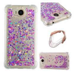 Dynamic Liquid Glitter Sand Quicksand Star TPU Case for Huawei Y5 (2017) - Rose