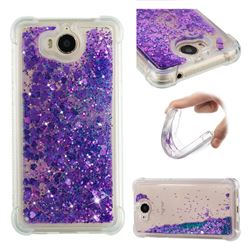 Dynamic Liquid Glitter Sand Quicksand Star TPU Case for Huawei Y5 (2017) - Purple