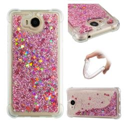 Dynamic Liquid Glitter Sand Quicksand Star TPU Case for Huawei Y5 (2017) - Diamond Rose