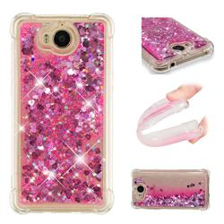 Dynamic Liquid Glitter Sand Quicksand TPU Case for Huawei Y5 (2017) - Pink Love Heart