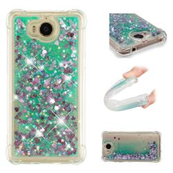Dynamic Liquid Glitter Sand Quicksand TPU Case for Huawei Y5 (2017) - Green Love Heart