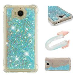 Dynamic Liquid Glitter Sand Quicksand TPU Case for Huawei Y5 (2017) - Silver Blue Star