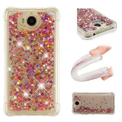 Dynamic Liquid Glitter Sand Quicksand TPU Case for Huawei Y5 (2017) - Rose Gold Love Heart