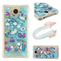 Fashion Unicorn Dynamic Liquid Glitter Sand Quicksand Star TPU Case for Huawei Y5 (2017)