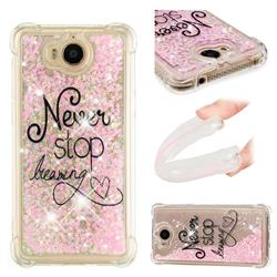 Never Stop Dreaming Dynamic Liquid Glitter Sand Quicksand Star TPU Case for Huawei Y5 (2017)