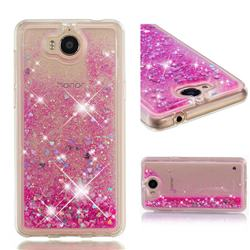 Dynamic Liquid Glitter Quicksand Sequins TPU Phone Case for Huawei Y5 (2017) - Rose
