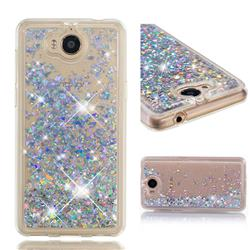 Dynamic Liquid Glitter Quicksand Sequins TPU Phone Case for Huawei Y5 (2017) - Silver