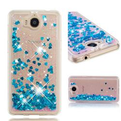 Dynamic Liquid Glitter Quicksand Sequins TPU Phone Case for Huawei Y5 (2017) - Blue