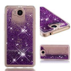 Dynamic Liquid Glitter Quicksand Sequins TPU Phone Case for Huawei Y5 (2017) - Purple