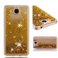 Dynamic Liquid Glitter Quicksand Sequins TPU Phone Case for Huawei Y5 (2017) - Golden