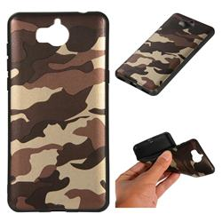 Camouflage Soft TPU Back Cover for Huawei Y5 (2017) - Gold Coffee