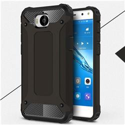 King Kong Armor Premium Shockproof Dual Layer Rugged Hard Cover for Huawei Y5 (2017) - Black Gold