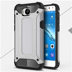 King Kong Armor Premium Shockproof Dual Layer Rugged Hard Cover for Huawei Y5 (2017) - Silver Grey
