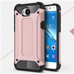King Kong Armor Premium Shockproof Dual Layer Rugged Hard Cover for Huawei Y5 (2017) - Rose Gold